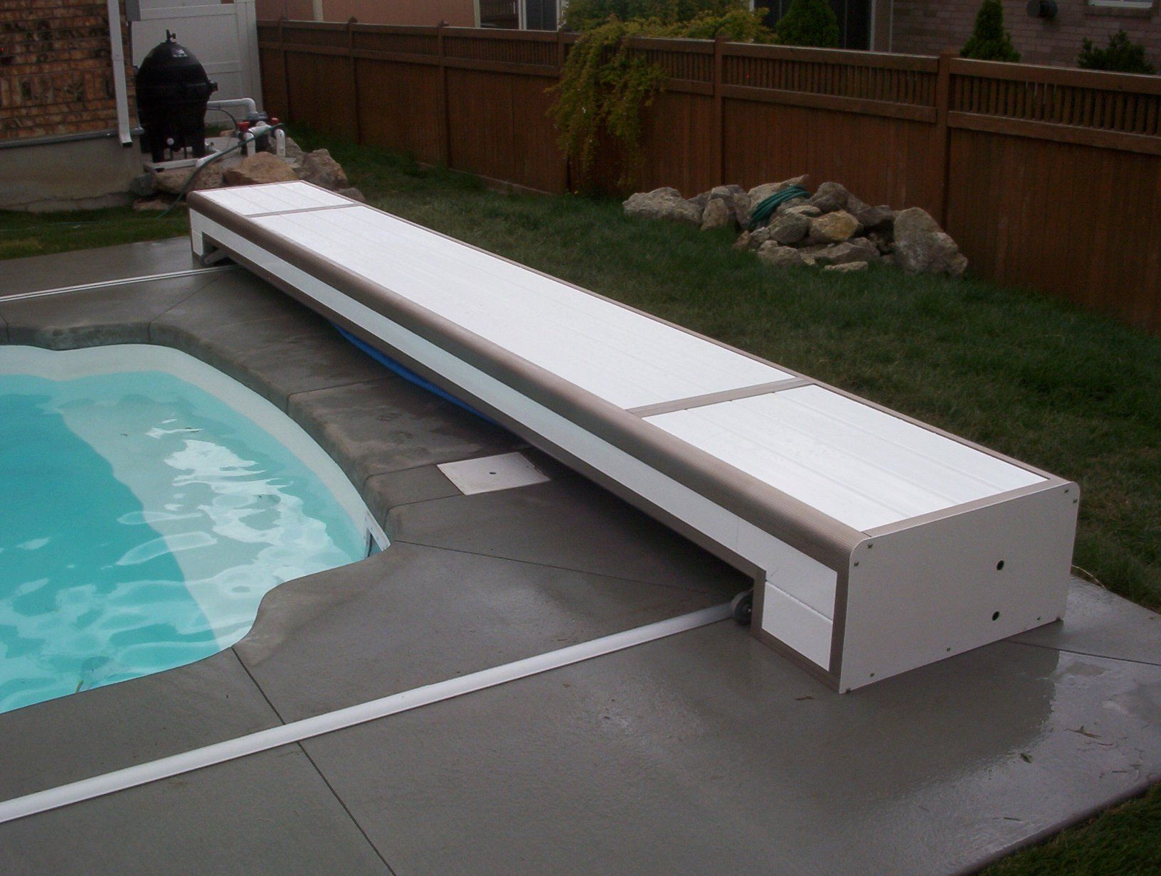 Pool Cover built into a deck with gas hinges | My Outside Space ...