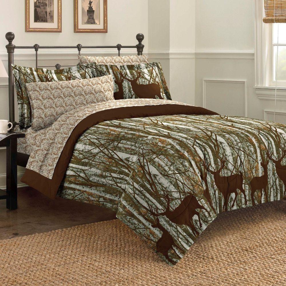 New Forest Hunting Lodge Deer Outdoors Bedding Comforter Set Rustic Bedroom Sets Bedding Sets Affordable Bedding Sets