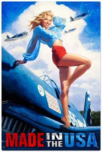 Photo of Retro Made in the USA  – Pin-Up Girl Metal Sign 24 x 36 Inches