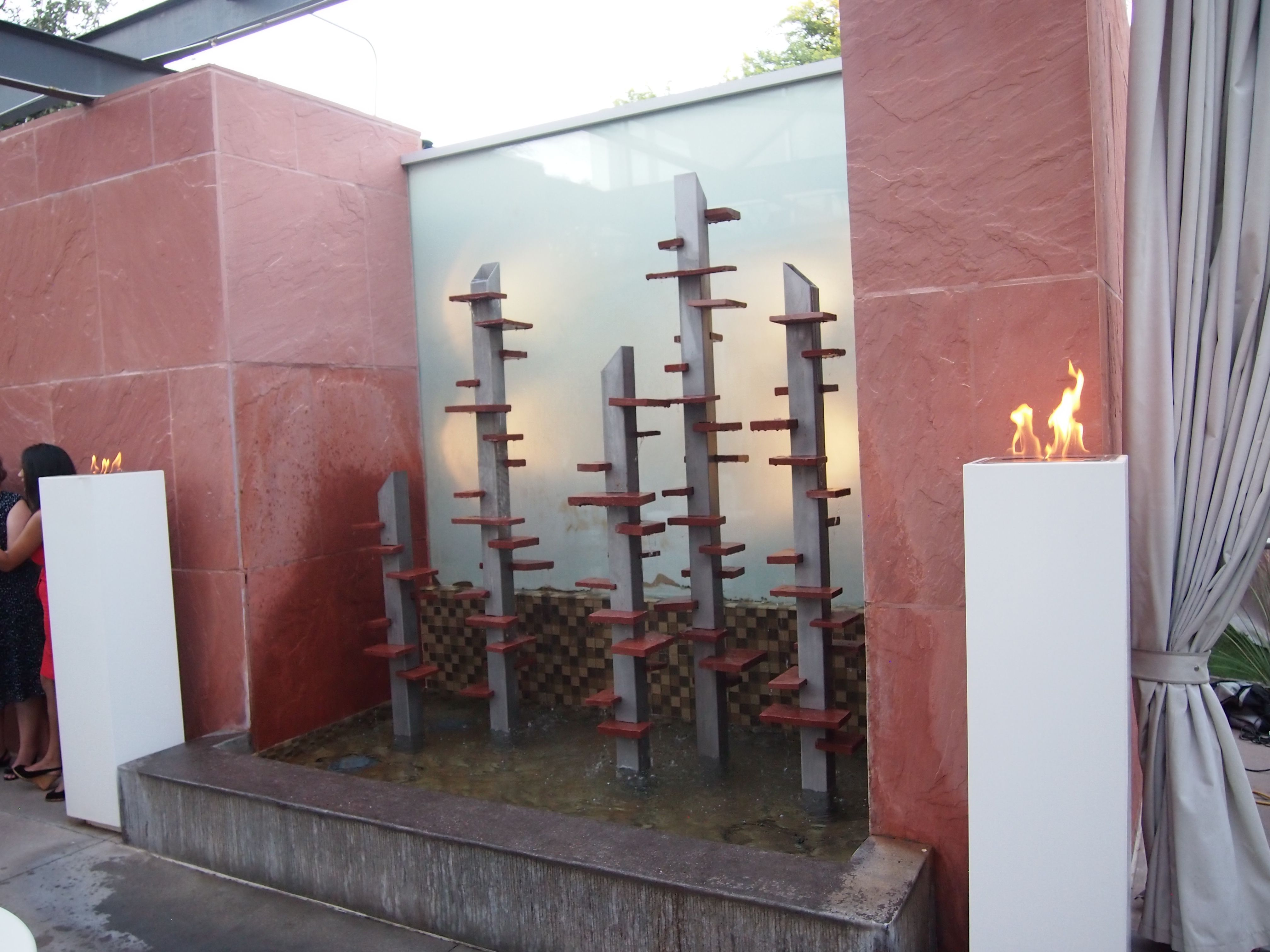 Terrace Fountain With Fire Columns Private Outdoor Wedding At The Clayton On