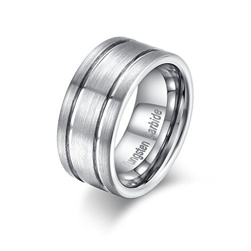 Hamany 10mm Brushed Mens Tungsten Ring 2 Grooves Wedding Band Tungsten Mens Rings Mens Wedding Rings Mens Wedding Bands
