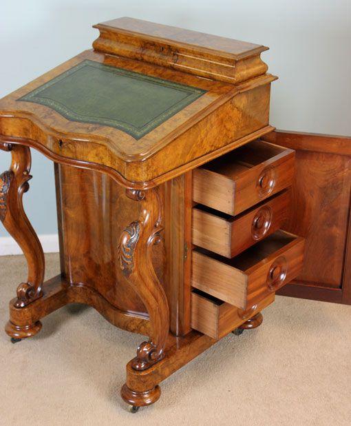 Antique Victorian Burr Walnut Davenport Writing Desk, London, Lincolnshire  c. - Antique Victorian Burr Walnut Davenport Writing Desk, London
