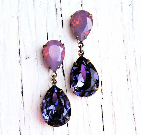 Lavender Raspberry Opal Purple Earrings Swarovski Crystal Earring Tear Drop Post Dangle Rhinestone Rare Hourgl Tanzanite Clip On