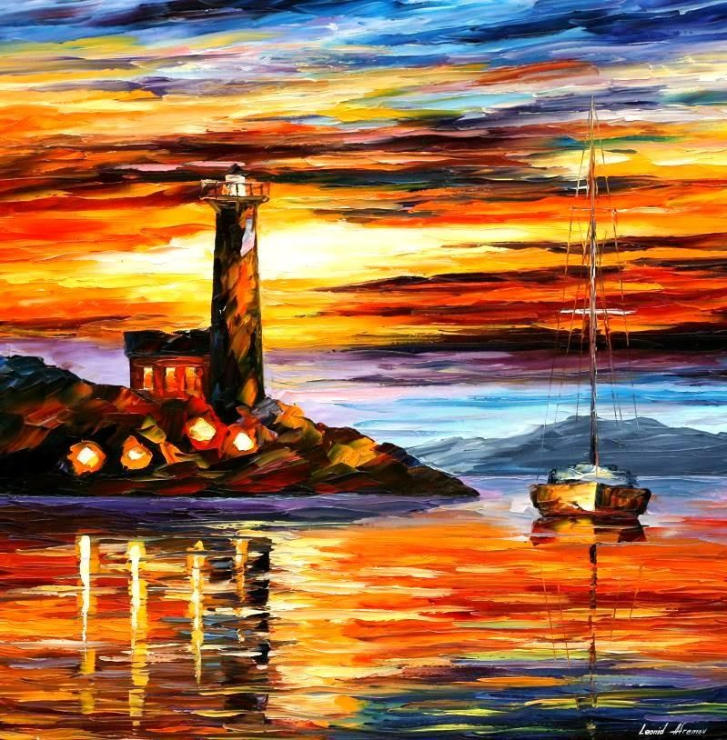 "BY THE LIGHTHOUSE — PALETTE KNIFE Oil Painting On Canvas By Leonid Afremov - Size 30""x30"""