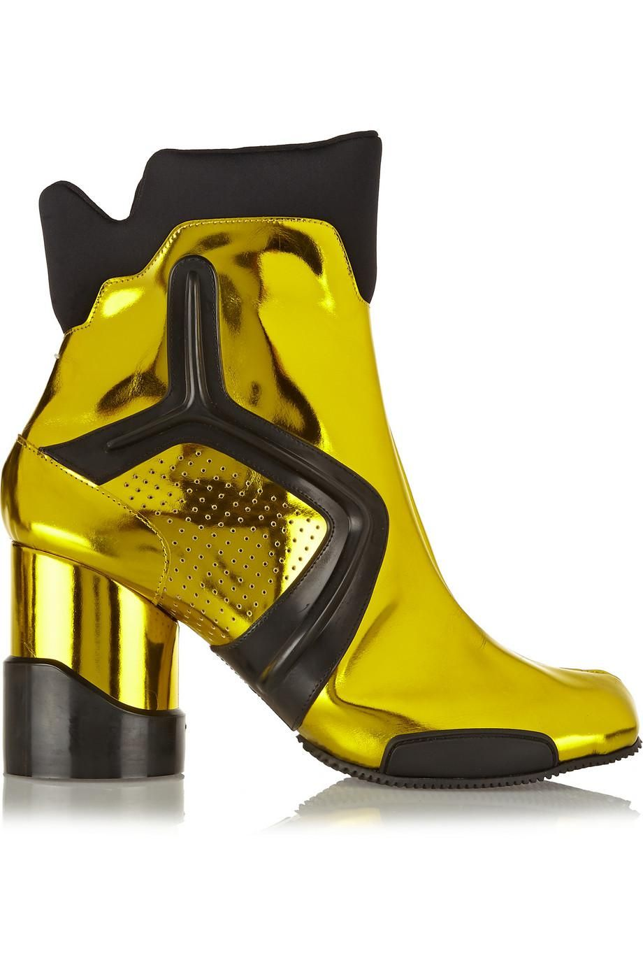 New Concept Maison Margiela Ankle Boots Leather Bright Yellow Tabi Neon Metallic