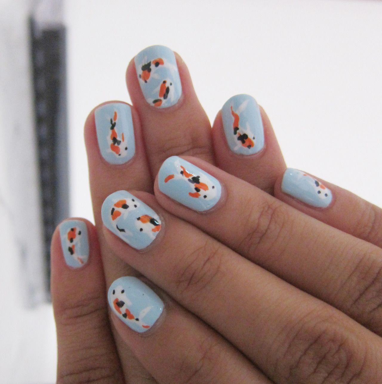 Koi Fish Nails #nailart | Hair & nails | Pinterest | Fish nails, Koi ...