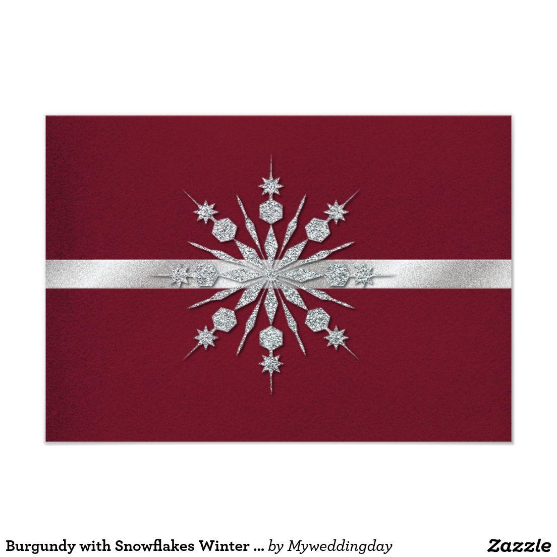 Burgundy with Snowflakes Winter Wedding RSVP Card | Wedding rsvp ...