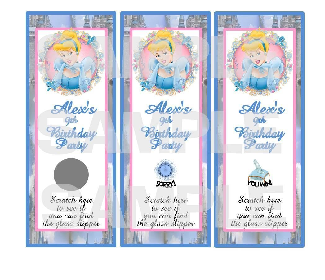 Personalized PRINCESS CINDERELLA birthday party scratch off tickets ...