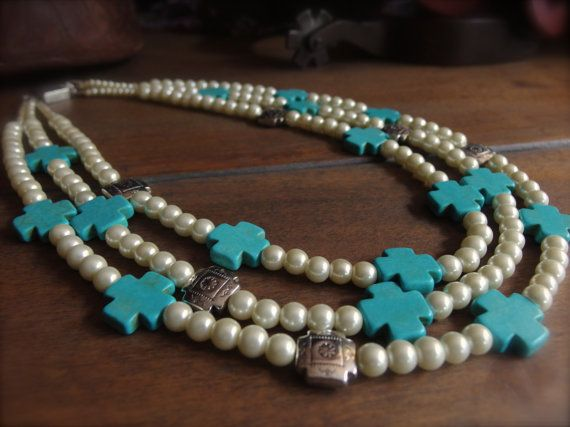 Western Wedding Jewelry Christian Necklace Turquoise and Pearl