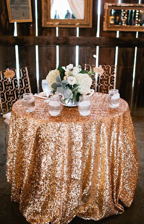 Sweetheart Table With Sparkly Gold Sequin Cloth Cake Maybe
