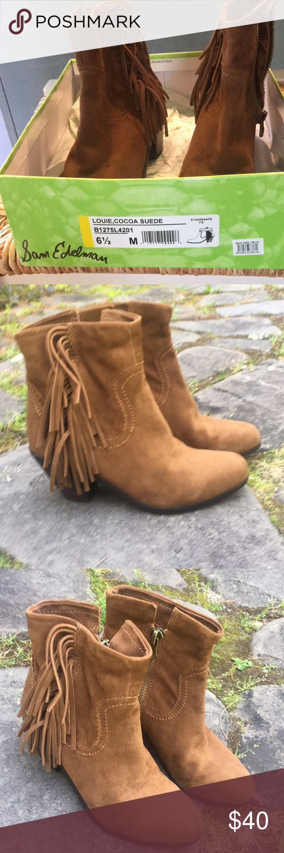 a4cc5deb81fe SAM EDELMAN SUEDE ANKLE BOOTIES Suede Louie cocoa booties Sam Edelman Shoes  Ankle Boots   Booties