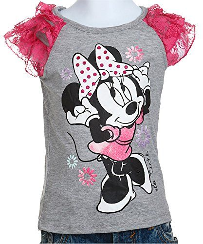Disney Little Girls' Minnie Mouse Dancing Girls Jersey Raglan Top with 3-Tier Lace Sleeve, Heather Grey, 4T. Super soft 3-tier lace sleeve raglan tee. Officially licensed.