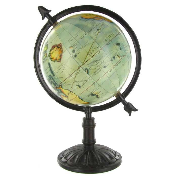"""14"""" Natural Color Globe On Dark Wood Stand"""