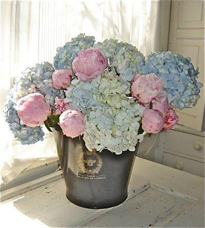 Pink Peonies Blue Hydrangeas Peonies And Hydrangeas Floral Arrangements Flower Arrangements