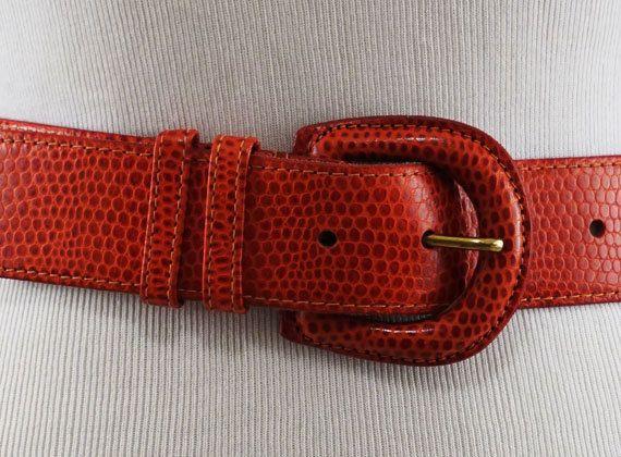 Vintage Italian Calfskin Muted Red Lizard Pattern Leather Belt Sz S
