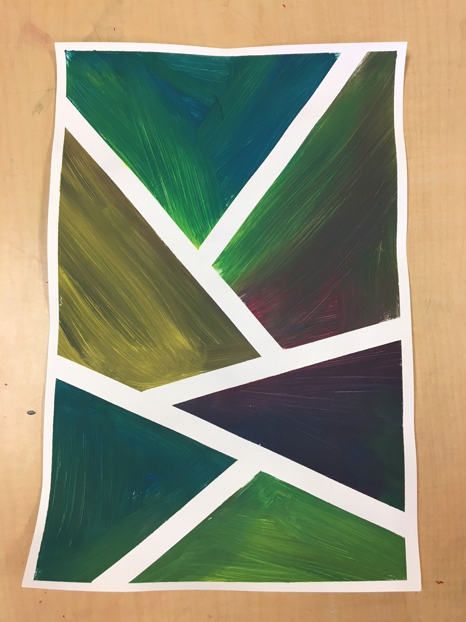 I Bought Some Not Very Sticky Masking Tape So We Used It On This Project The Students Put The Tape Down Painted And Pulle Masking Tape Art Lessons Abstract