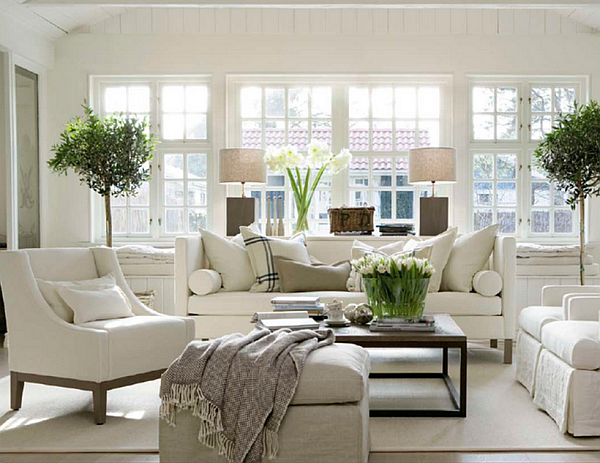 Decorating with Bright, Modern White | White living rooms, Sunroom ...
