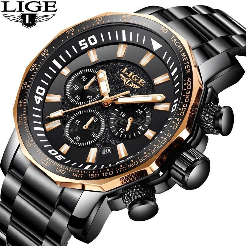 LIGE Sports Casual Men Watches Top Luxury Business Quartz