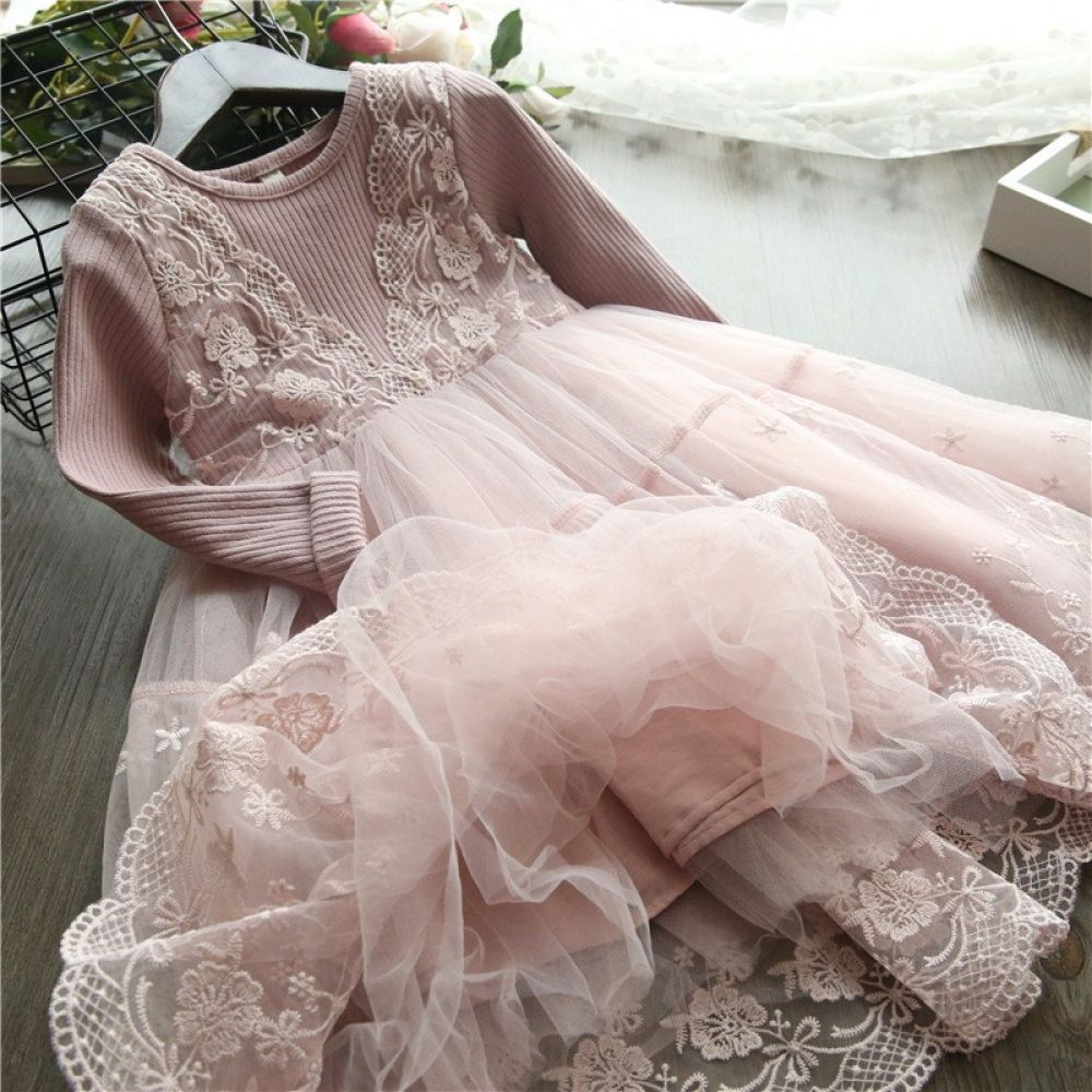 Girls flower 2019 fashion childrens clothing lace
