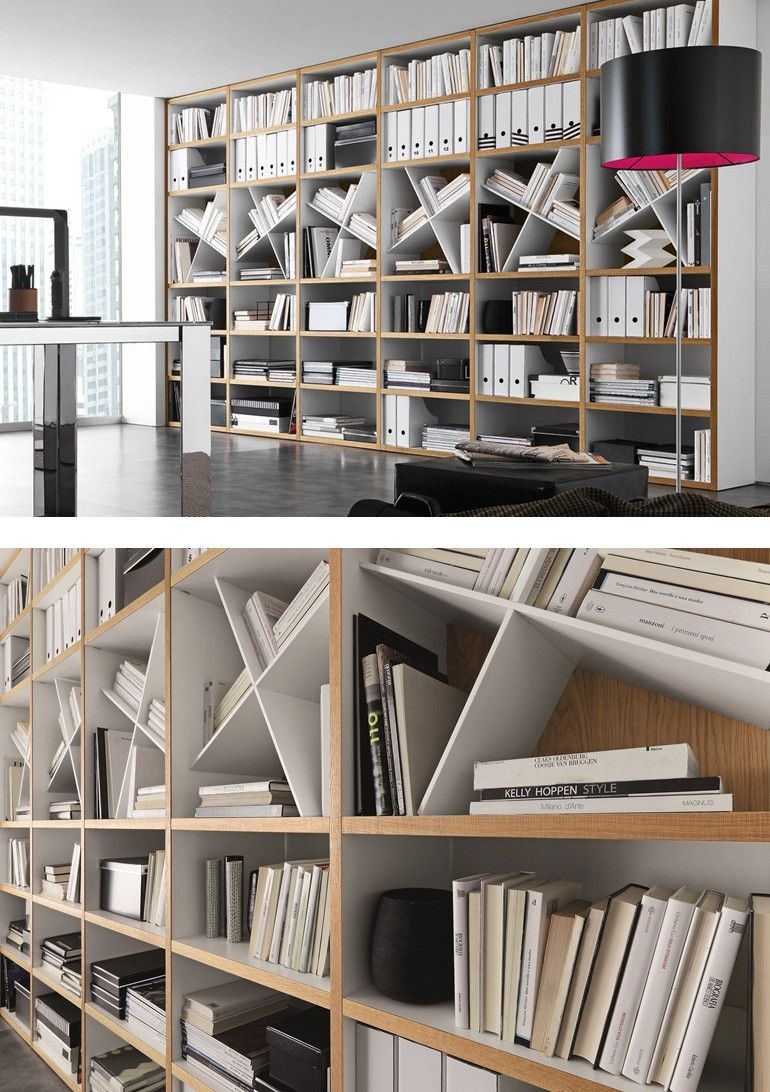 Open wall mounted sectional bookcase comp 302 by presotto for Presotto industrie mobili