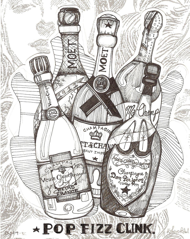 "Contest WINNER @Alana Firestone Interiors #Bar #barcart #homebar #cocktailart ""Pop, Fizz, Clink"" on vintage wallpaper! https://www.etsy.com/shop/KloRebel?ref=si_shop"