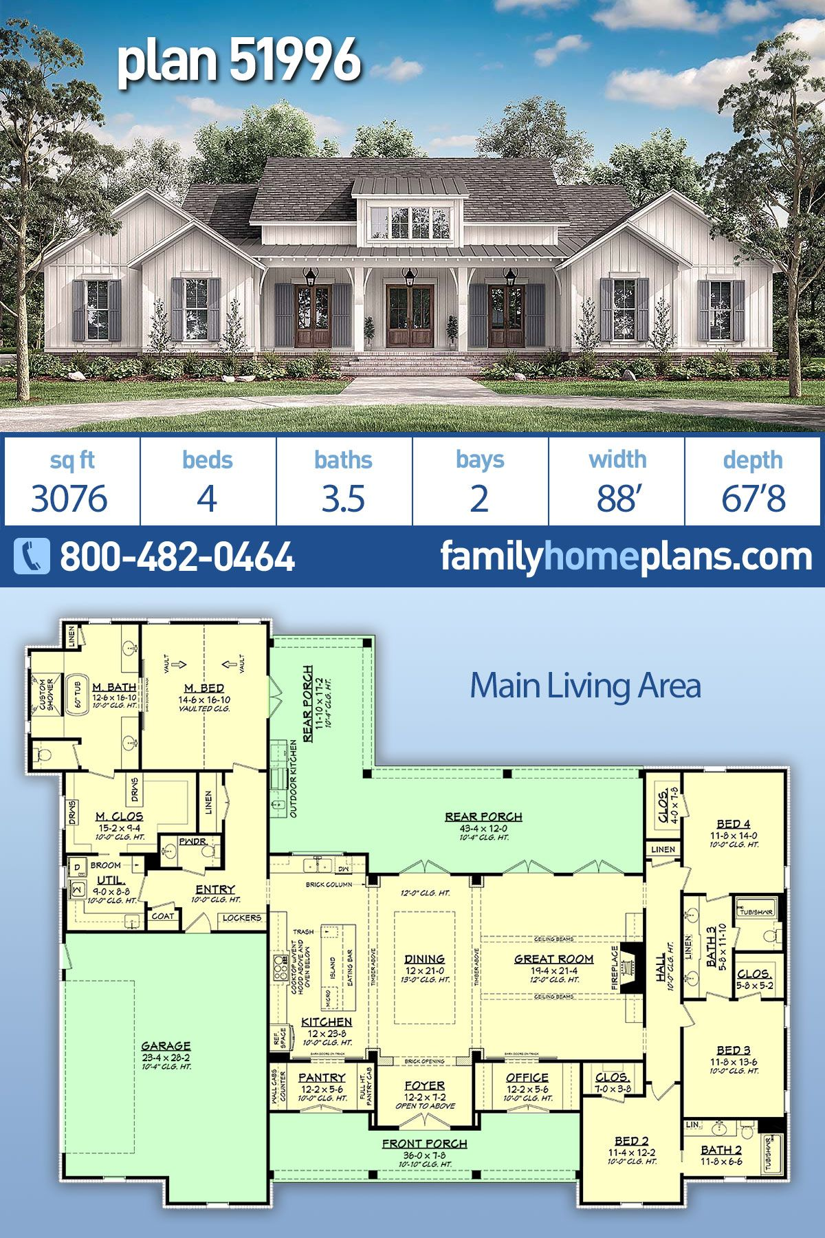Farmhouse Style House Plan 51996 With 4 Bed 4 Bath 2 Car Garage Family House Plans Country Style House Plans Farmhouse Style House