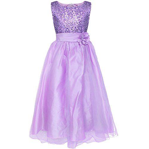 b0efdc79c YiZYiF Kids Girls Sequined Wedding Dress Bridesmaid Formal Christmas ...
