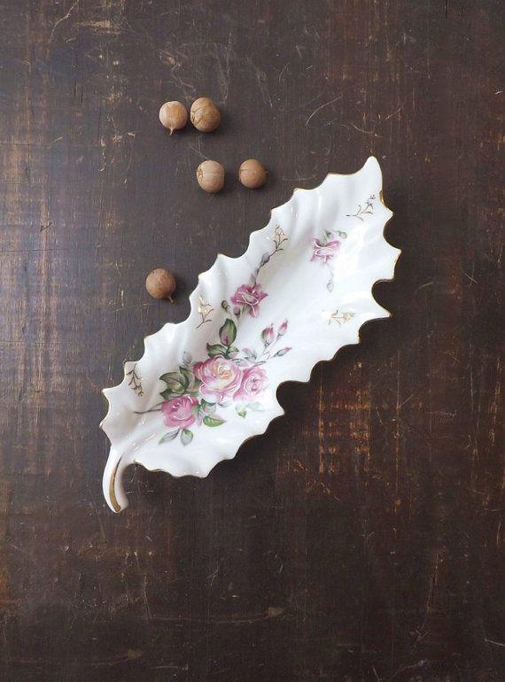 via Vintage Pink Roses Porcelain Tray Leaf by MomsantiquesNthings