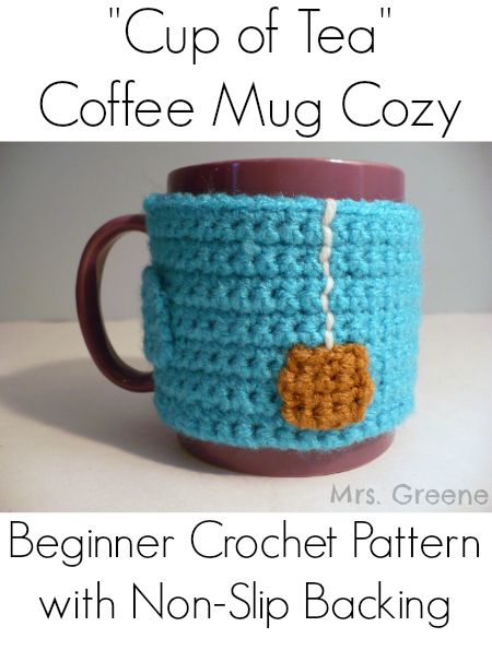 Crochet Pattern Cup Of Tea Coffee Mug Cozy With Non Slip Backing
