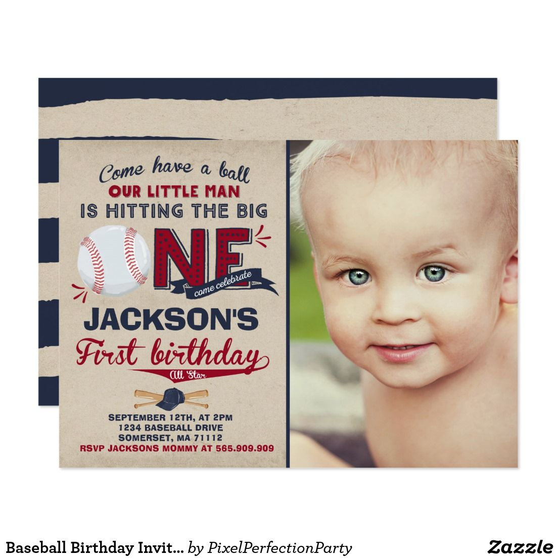 Baseball Birthday Invitation Baseball 1st Birthday | Baseball ...