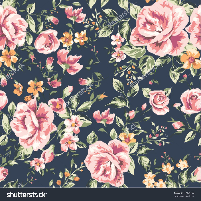 stockvectorseamlessvintageflowerpatternonnavy