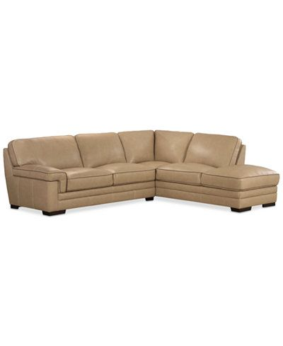 Myars 2 Pc Leather Sectional W Chaise Only At Macy S Decor