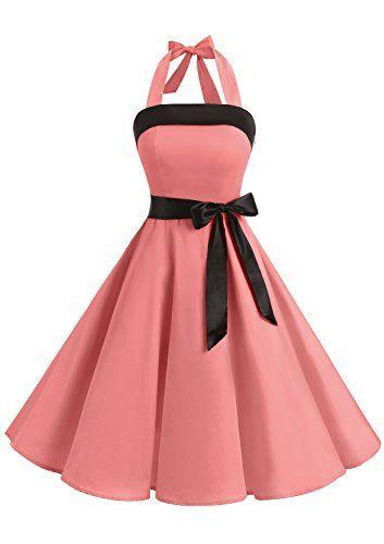 21bc6441e77 Timormode Robe Rockabilly pin up Robe Audrey Hepburn Vintage Robe  Demoiselle d Honneur Grande Taille Robe de Mariage Femme Courte Robe pour  le Bal de Fin ...