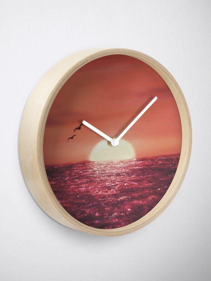 Ocean sunset painting clock. #sunset #decor #home #findyourthing #ocean #art # artwork # painting #digital painting #clock
