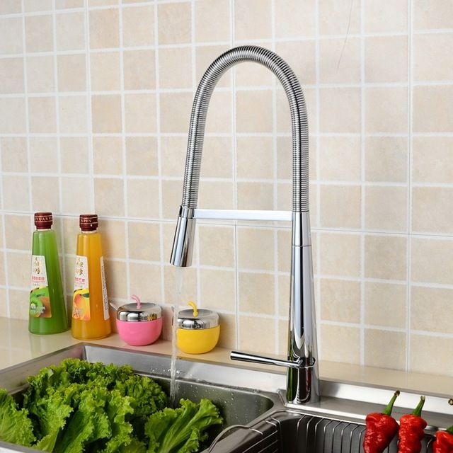Free shipping luxury brass kitchen faucet hot and cold water sink ...