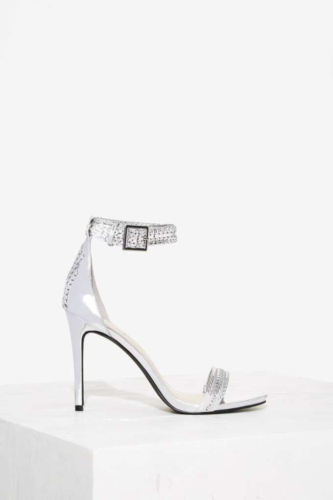 Nasty Gal Tricks of the Braid Patent Leather Heel - Silver - Heels ...