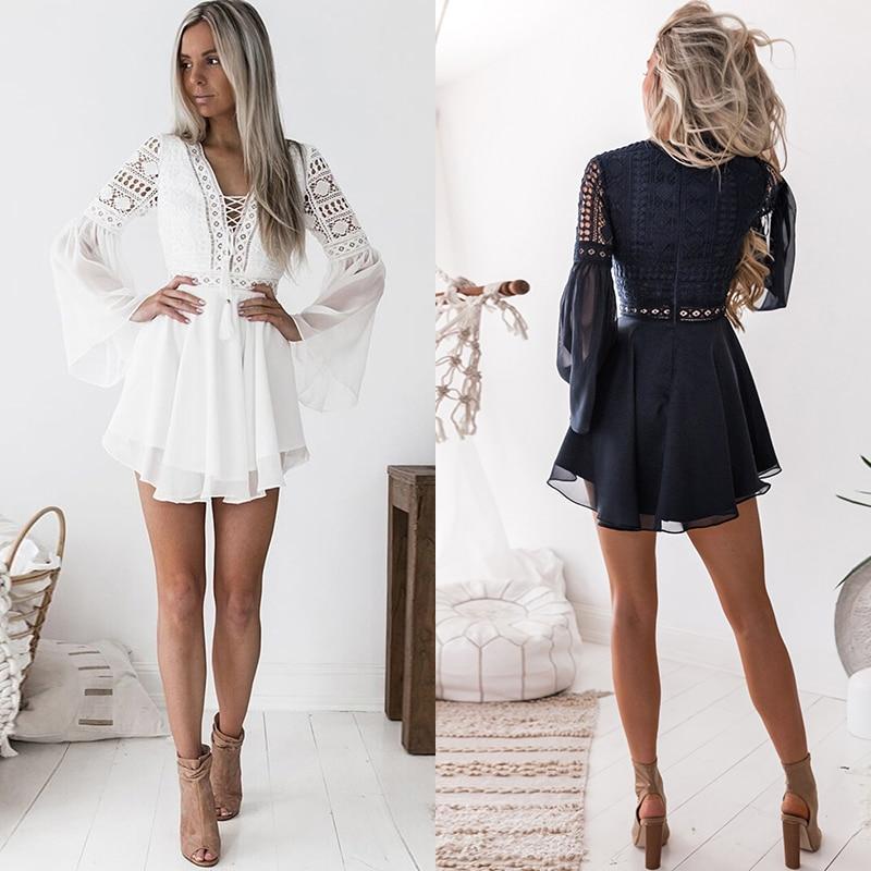 4648cfc0ff31 Sexy Hollow Out Lace Chiffon Mini Dress Women´s Summer Casual Dresses –  Ophira Store