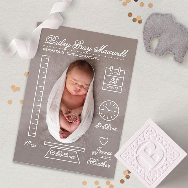 Creative Measurements Birth Announcements by Minted Artist Shari – Birth Announcement Pinterest