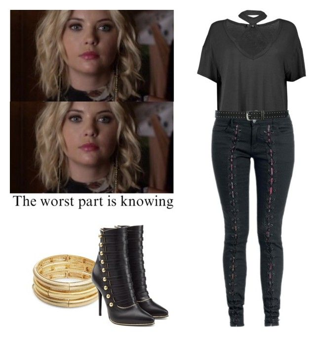 Hanna Marin - pll / pretty little liars by shadyannon on Polyvore featuring polyvore fashion style Boohoo Balmain Nanette Lepore M&Co clothing