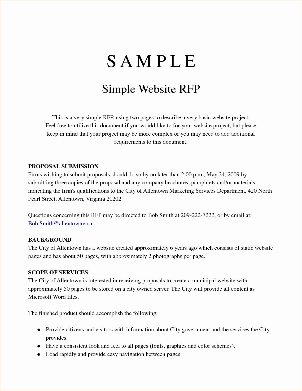 20 Simple Request for Proposal Example ™ in 2020 Project