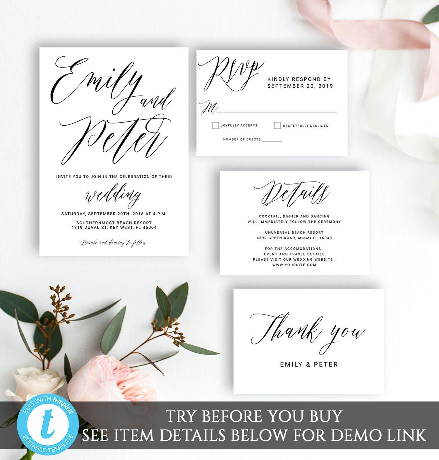Wedding Invitation Set Template Editable Rustic Invitation Etsy Wedding Invitation Sets Simple Wedding Invitations Wedding Invitations