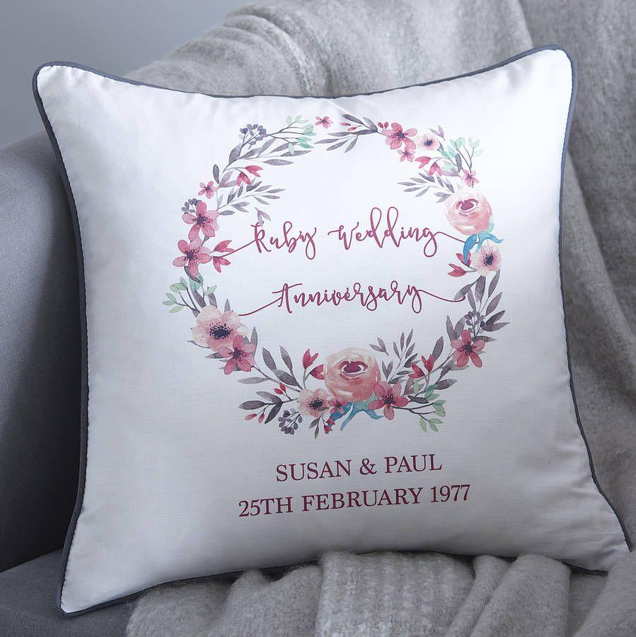 Floral wreath personalised wedding anniversary cushion