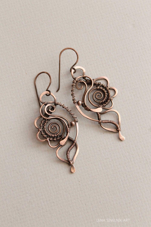 Wire Wrap Earrings Copper Earrings By Lenasinelnikart On Etsy
