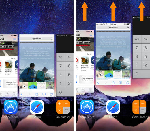 Quit multiple background apps at once using multitouch on