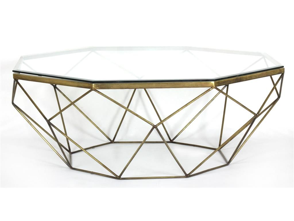 Geometeric metal coffee table with glass top the same one as in four hands living room geometric coffee table antique brass geotapseo Gallery