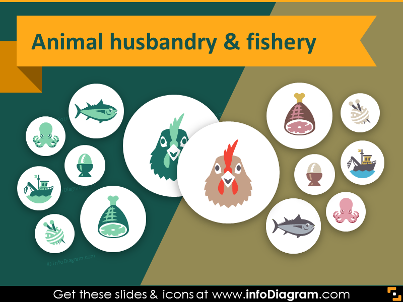 Food and Agriculture icons Animal husbandry, Fishery