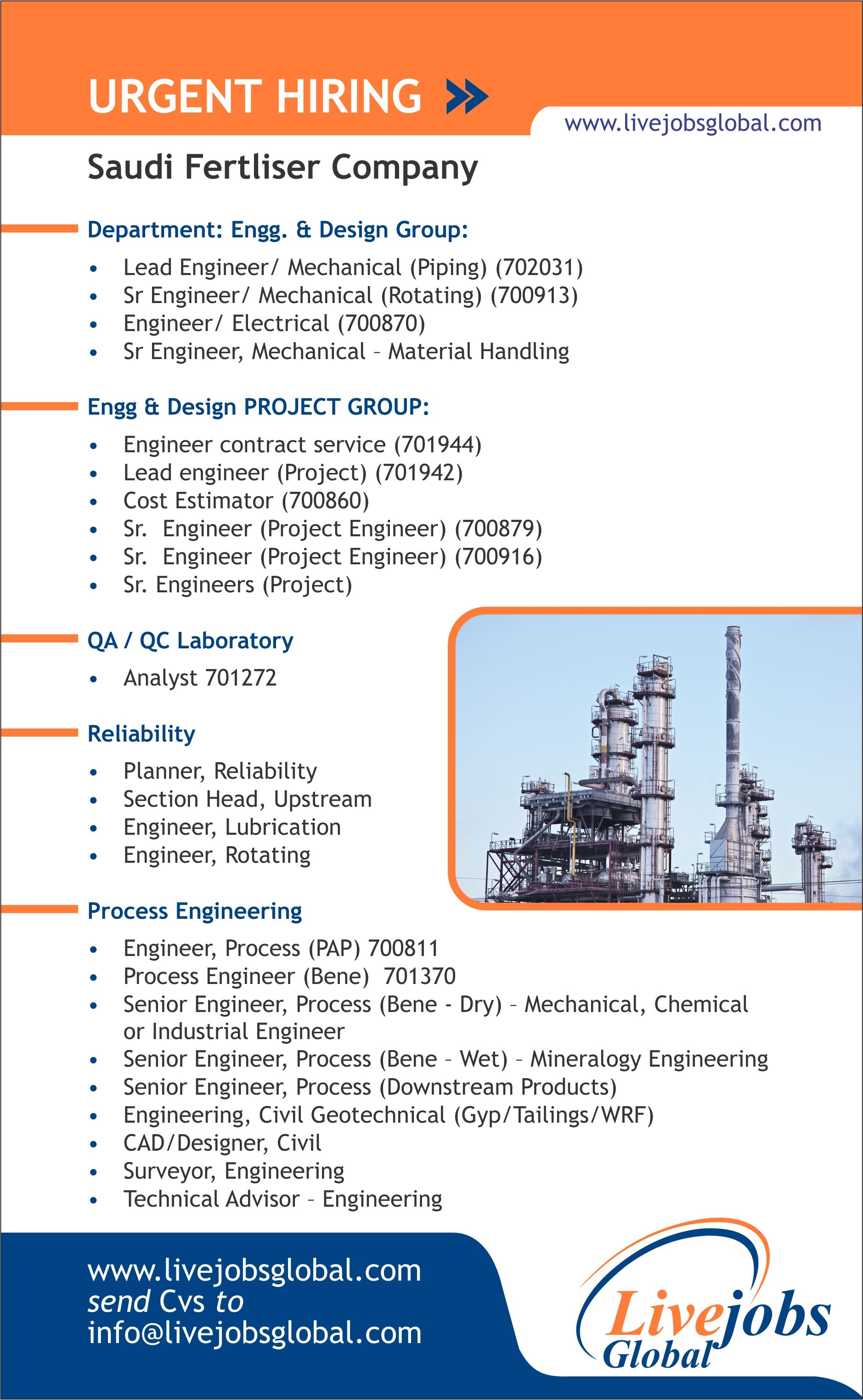 Urgent Bulk Opening In Saudi Fertliser Company Ammonia Plant Engineering Mechanical Electrical Chem Recruitment Agencies Recruitment Services Recruitment