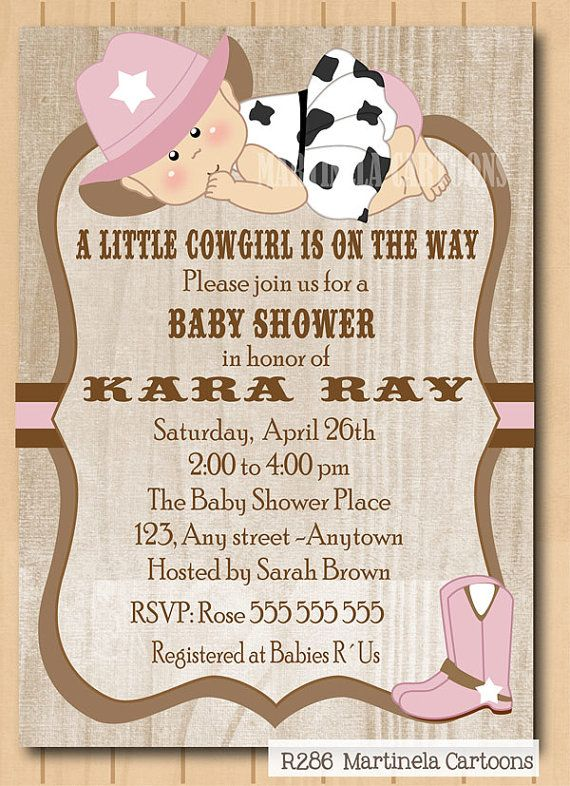 Cute Cow Baby Shower Invitation With Pink Hat Printable Or First Birthday Invite Diy