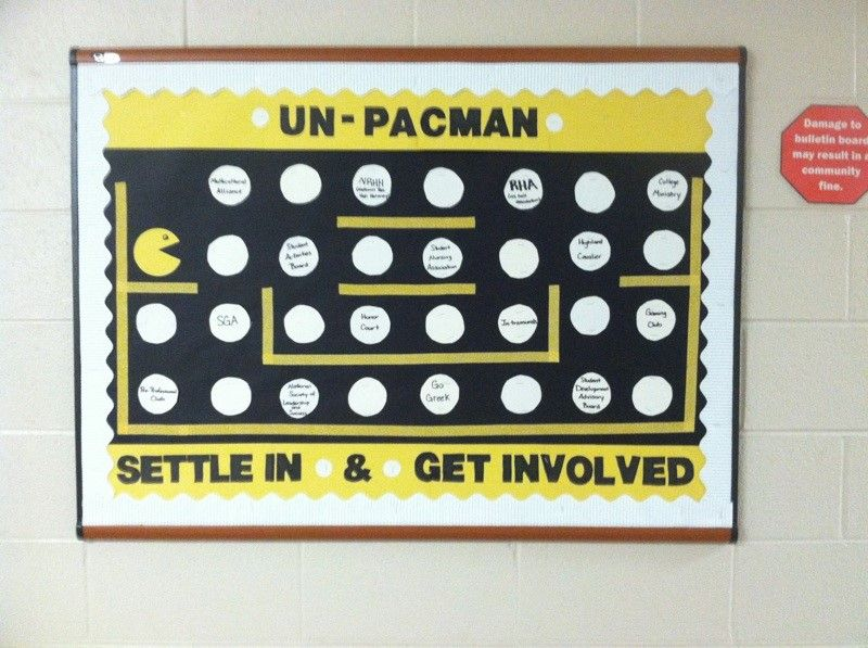 Tied for 3rd place in our August Bulletin Board Contest, here is a Pacman themed welcome board by Ashley Blaylock! #RA #ResLife #BulletinBoard #rabulletinboards
