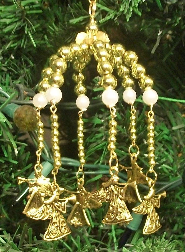 Bead Craft Kit Golden Angel Carousel Christmas Ornament 4-1/2\ - christmas carousel decoration